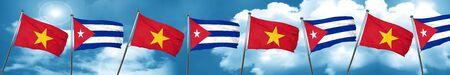 bandera de cuba: Vietnam flag with cuba flag, 3D rendering