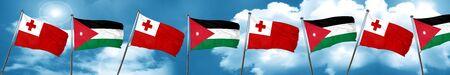 combines: Bandera de Tonga con la bandera de Jordania, 3D