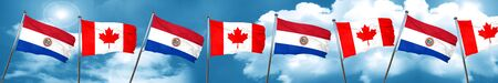 bandera de paraguay: Bandera de Paraguay con la bandera de Canadá, representación 3D