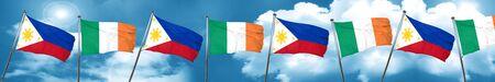 Bandera de Filipinas con la bandera de Irlanda, representación 3D