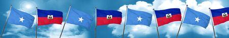 Somalia flag with Haiti flag, 3D rendering Stock Photo