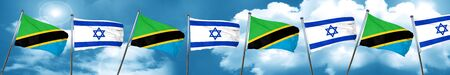 israel flag: Tanzanian flag with Israel flag, 3D rendering