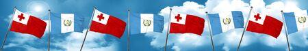 bandera de guatemala: Tonga flag with Guatemala flag, 3D rendering