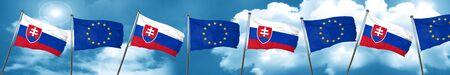 combines: Bandera de Eslovaquia con la bandera de la Unión Europea, representación 3D
