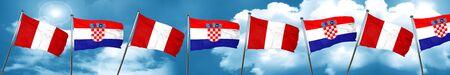 bandera de croacia: Peru flag with Croatia flag, 3D rendering Foto de archivo