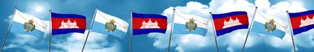 cambodian: san marino flag with Cambodia flag, 3D rendering Stock Photo