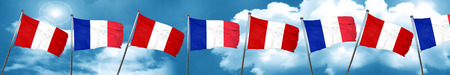 bandera de peru: Bandera de Perú con la bandera de Francia, representación 3D