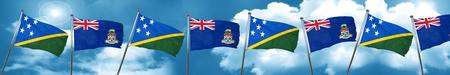 solomon: Solomon islands flag with Cayman islands flag, 3D rendering