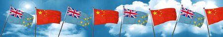 Tuvalu flag with China flag, 3D rendering