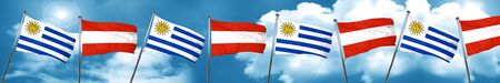 Uruguay flag with Austria flag, 3D rendering
