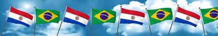 bandera de paraguay: Paraguay flag with Brazil flag, 3D rendering
