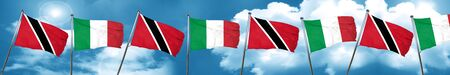 Trinidad and tobago flag with Italy flag, 3D rendering