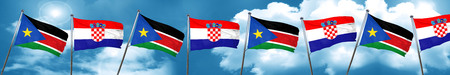 south sudan flag with Croatia flag, 3D rendering Stock Photo