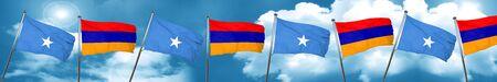 Somalia flag with Armenia flag, 3D rendering