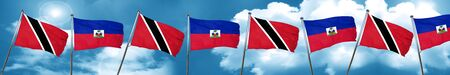 Trinidad and tobago flag with Haiti flag, 3D rendering