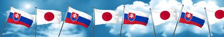 Slovakia flag with Japan flag, 3D rendering Stock Photo