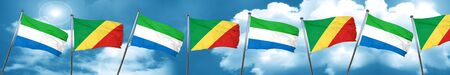 Sierra Leone flag with congo flag, 3D rendering Stock Photo