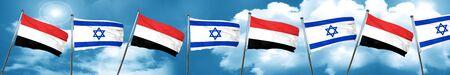 yemen: Yemen flag with Israel flag, 3D rendering