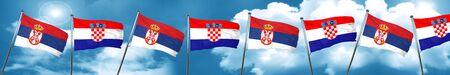 bandera de croacia: bandera de Serbia con la bandera de Croacia, 3D