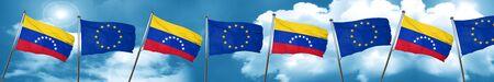 bandera de venezuela: Venezuela flag with european union flag, 3D rendering