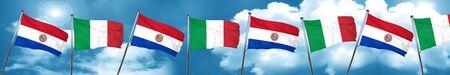 bandera de paraguay: Bandera de Paraguay con la bandera de Italia, representación 3D