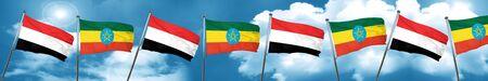 yemen: Yemen flag with Ethiopia flag, 3D rendering Stock Photo