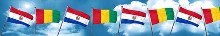 bandera de paraguay: Bandera de Paraguay con bandera de Guinea, 3D Foto de archivo