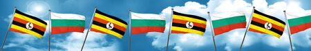 Uganda flag with Bulgaria flag, 3D rendering