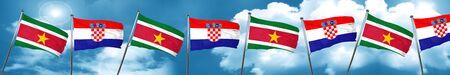 bandera de croacia: Suriname flag with Croatia flag, 3D rendering
