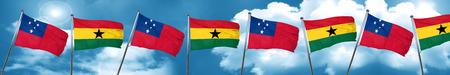 ghanese: Samoa flag with Ghana flag, 3D rendering