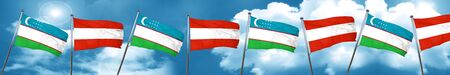 Uzbekistan flag with Austria flag, 3D rendering Stock Photo