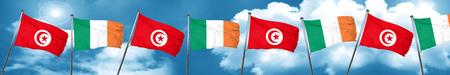 ireland flag: Tunesia flag with Ireland flag, 3D rendering