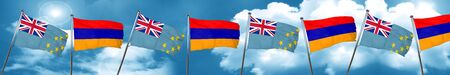 Tuvalu flag with Armenia flag, 3D rendering