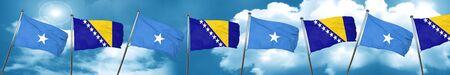 Somalia flag with Bosnia and Herzegovina flag, 3D rendering