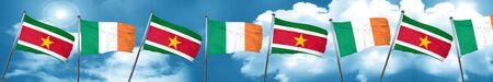 ireland flag: Suriname flag with Ireland flag, 3D rendering