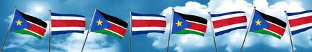 costa: south sudan flag with Costa Rica flag, 3D rendering Stock Photo
