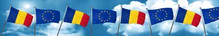 bandera de Rumania con la bandera de unión europea, 3D Foto de archivo