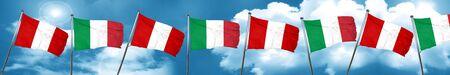 bandera de peru: Peru flag with Italy flag, 3D rendering