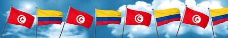 colombian: Tunesia flag with Colombia flag, 3D rendering