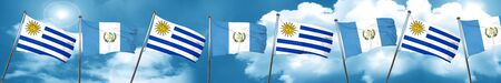 Bandera de Uruguay con bandera de Guatemala, representación 3D