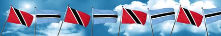 Trinidad and tobago flag with Botswana flag, 3D rendering Stock Photo