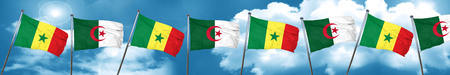 Senegal flag with Algeria flag, 3D rendering