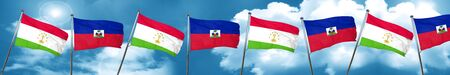 Tajikistan flag with Haiti flag, 3D rendering Stock Photo