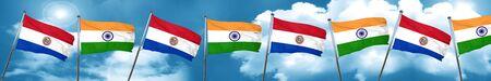 bandera de paraguay: Bandera de Paraguay con la bandera de la India, representación 3D Foto de archivo