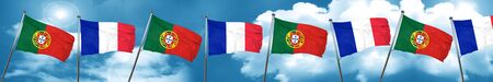 french culture: Portugal flag with France flag, 3D rendering