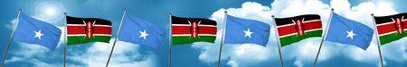 Somalia flag with Kenya flag, 3D rendering