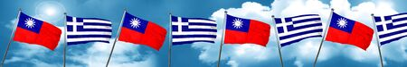 Taiwan flag with Greece flag, 3D rendering Stock Photo