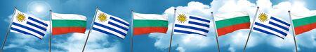 bandera de uruguay: Uruguay bandera con la bandera de Bulgaria, representación 3D
