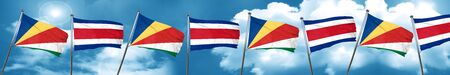 seychelles flag with Costa Rica flag, 3D rendering