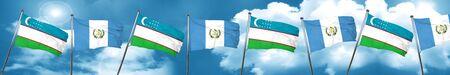 bandera de guatemala: Uzbekistan flag with Guatemala flag, 3D rendering
